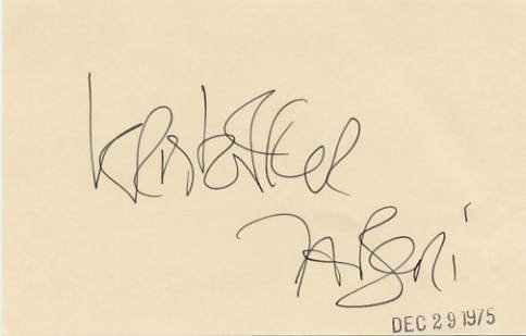 Actor KRISTOFFER TABORI Hand Signed Card 1975