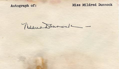 American Theatre, Film & TV Actress MILDRED DUNNOCK Autograph 1970