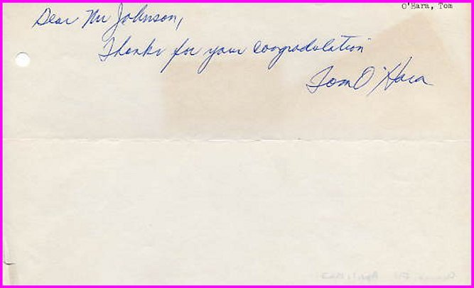 Great Miler TOM O'HARA Autograph Note Signed 1963