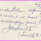 Comedy Smith & Dale JOE SMITH Autograph Note Signed 1974