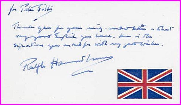 British Author RALPH HAMMOND INNES Autograph Note Signed 1995