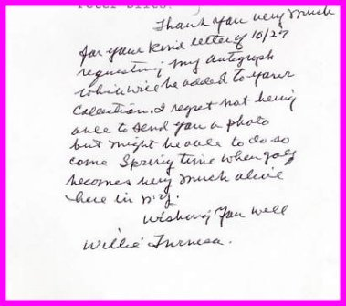 Turnesa Golf Family WILLIE TURNESA Autograph Note Signed