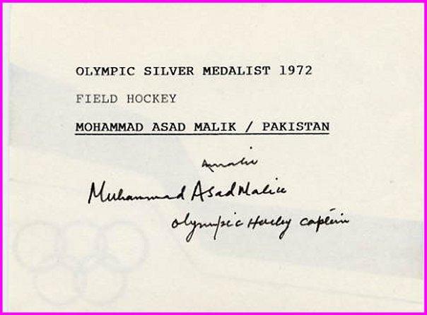 1968 Mexico City Field Hockey Gold MOHAMMAD ASAD MALIK Autograph