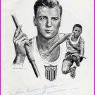 1948 & 1952 Decathlon Gold BOB MATHIAS Hand Signed Illustration from 1967