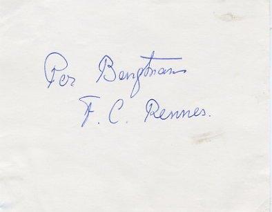 Swedish Football Player PER BENGTSSON Autograph 1950s