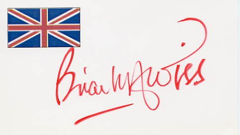 Prolific English Author BRIAN ALDISS Hand Signed Card 1995