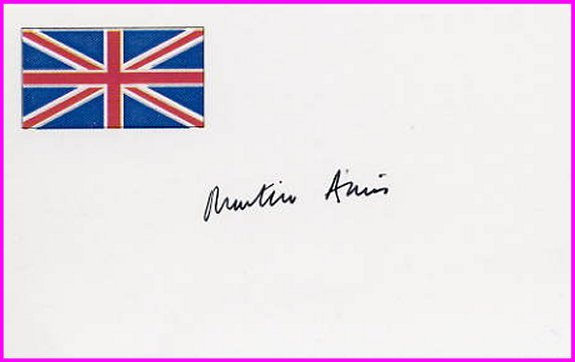 English Novelist MARTIN AMIS Hand Signed Card from 1995
