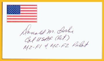 American Test Pilot DON SORLIE Hand Signed Card from 1996