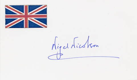 British Writer, Publisher & Politician NIGEL NICOLSON Hand Signed Card 1995