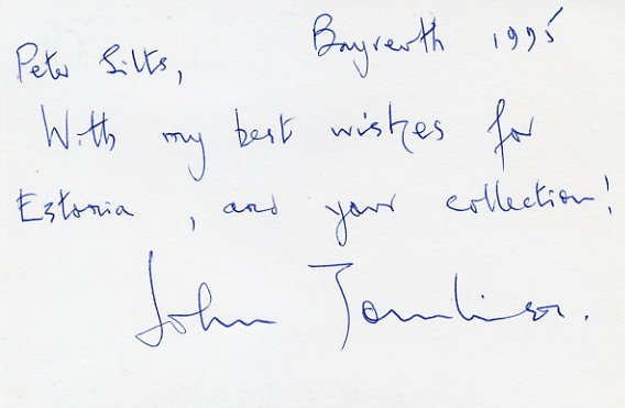 Famous Opera Singer JOHN TOMLINSON Autograph Note Signed 1995