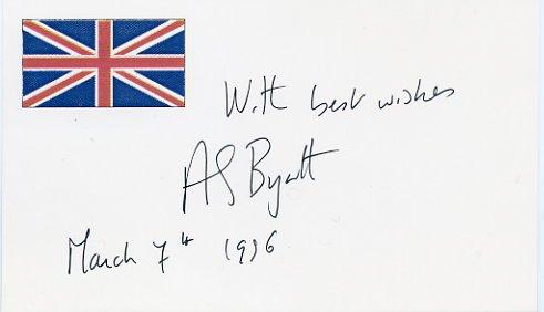 Booker Prize Novelist A. S. BYATT Autograph Note Signed 1996