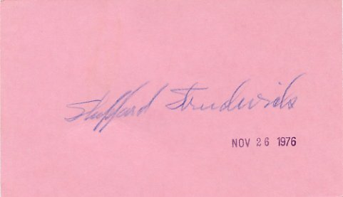 American Actor SHEPPERD STRUDWICK Hand Signed Card 1976