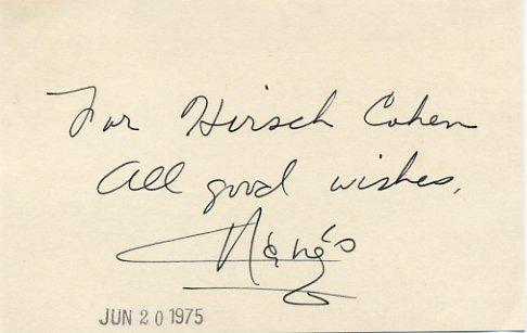 Actress & Dancer MARGO Hand Signed Card 1975