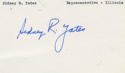 Illinois Representative SIDNEY R. YATES Hand Signed Card