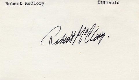 U.S. Representative from Illinois ROBERT Mc CLORY Hand Signed Card