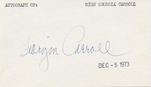 American Singer, Fashion Model & Actress GEORGIA CARROLL Hand Signed Card 1973