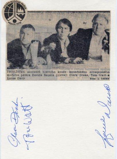 Canadian Ice Hockey Coaches CLARE DRAKE-TOM WATT-LORNE DAVIS Autographs 1979