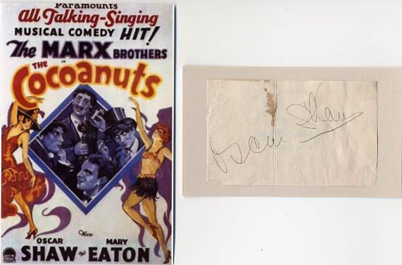 American Actor & Singer OSCAR SHAW Vintage Signature & Pict