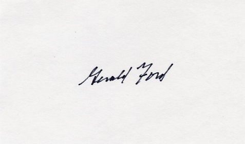 President GERALD FORD Hand Signed Card from 1987
