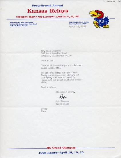 University of Kansas Head Track Coach BOB TIMMONS Typed Letter Signed 1967