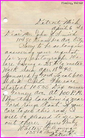 1940s Top 20 km Race Walker WALTER FLEMING Autograph Letter Signed 1943