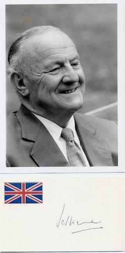 British Politician GEORGE JELLICOE Hand Signed Card & Pict