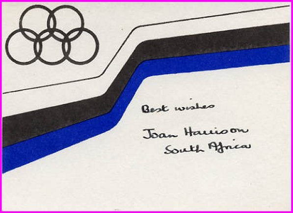 1952 Helsinki Swimming Gold JOAN HARRISON Hand Signed Card