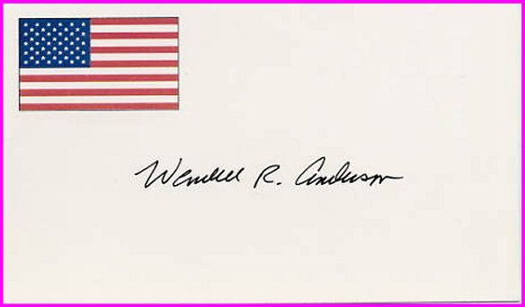 1956 Cortina Ice Hockey Silver & Governor of Minnesota WENDELL ANDERSON Hand Signed Card