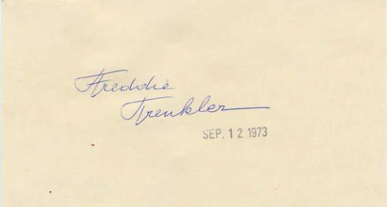 Comic Ice Skater FREDDIE TRENKLER Hand Signed Card 1973