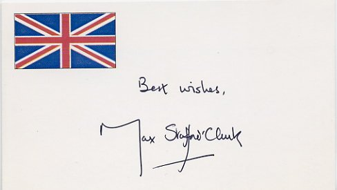 Legendary Theatre Director MAX STAFFORD-CLARK Hand Signed Card 1996