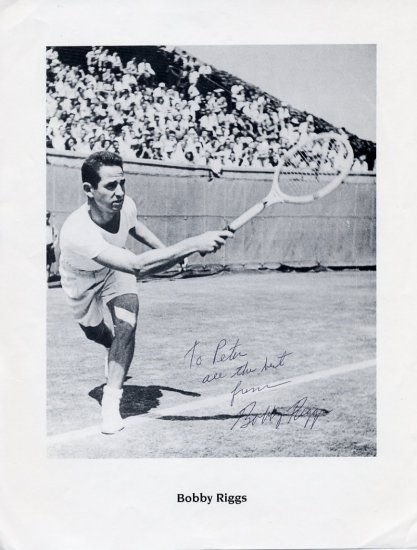 Tennis Great  BOBBY RIGGS Hand Signed Picture 8x11