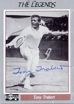 1950s Tennis Star TONY TRABERT Hand Signed NETPRO Card 1991