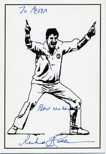 New Zealand Cricket Legend RICHARD HADLEE Hand Signed Postcard