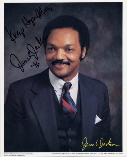 Civil Rights Leader & President Candidate JESSE JACKSON Hand Signed 8x10