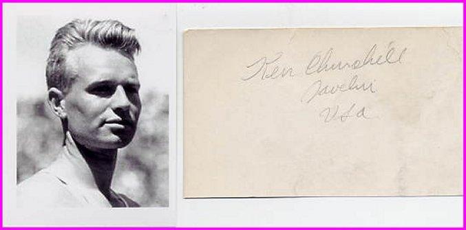1932 Los Angeles Javelin Olympian KEN CHURCHILL Autograph 1932 & Pict
