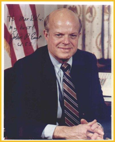 Senator North Carolina JOHN P. EAST Hand Signed Photo 8x10 from 1983