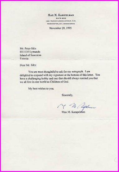 American Diplomat & Cold War-era Arms Control Negotiator MAX KAMPELMAN Typed Letter Signed 1995