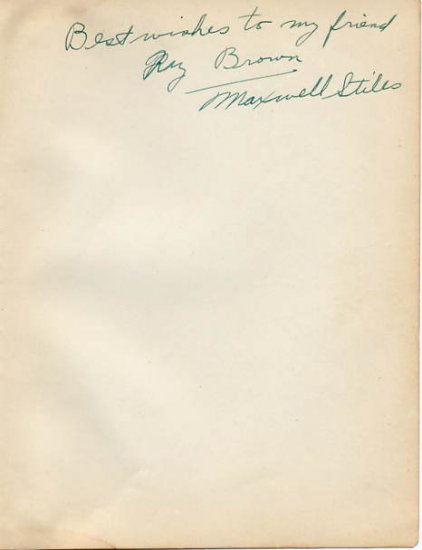 Rose Bowl Author & Los Angeles Rams MAXWELL STILES Autograph 1930s