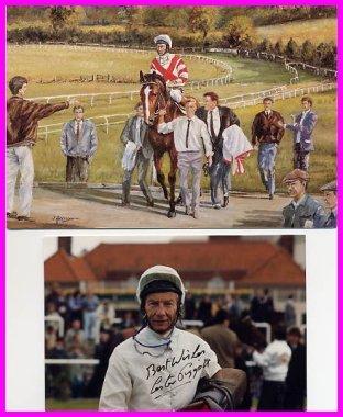 Great English Jockey LESTER PIGGOTT Hand Signed Photo 4x6 & Color Card 5x7