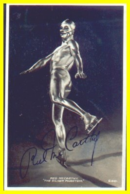 1930s Ice Capades Star RED McCARTHY Hand Signed Postcard as The Silver Phantom