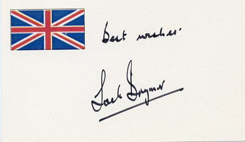 Renowned Clarinetist JACK BRYMER Hand Signed Card