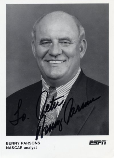 NASCAR Driver & Analyst BENNY PARSONS Hand Signed Photo 5x7