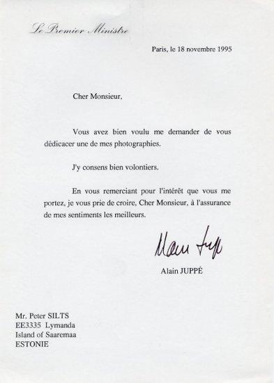 1995-97 Prime Minister of France ALAIN JUPPE Typed Letter Signed 1995