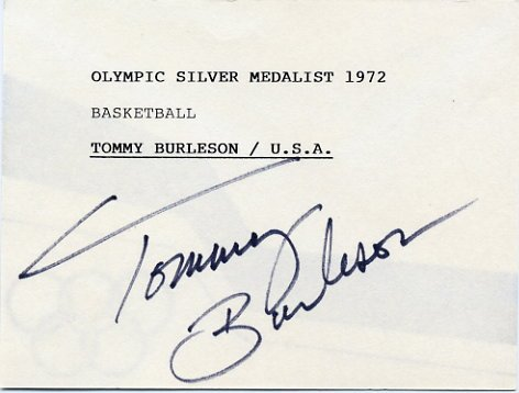 1972 Munich Basketball Silver TOMMY BURLESON Hand Signed Card