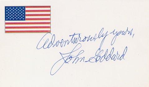 World-Famous Adventurer JOHN GODDARD Hand Signed Card
