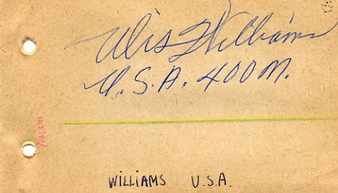 1964 Tokyo 4x400 m Relay Gold ULIS WILLIAMS Autograph 1961