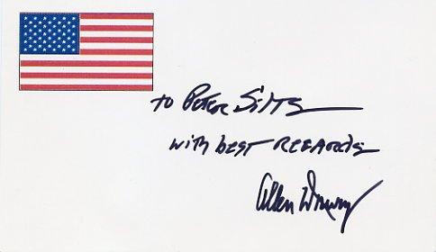 Pulitzer Prize Novelist ALLEN DRURY Hand Signed Card