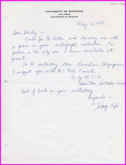 1950s Canadian Distance Runner DOUG KYLE Autograph Letter Signed 1958
