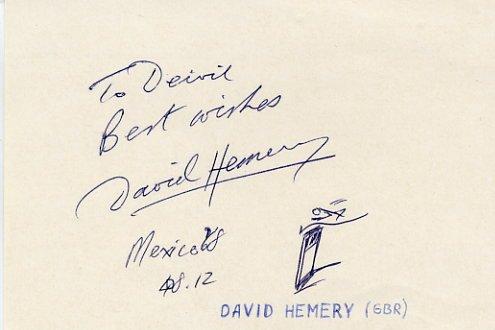 1968 Mexico City 400m Hurdles Gold & WR DAVID HEMERY Autograph & Sketch