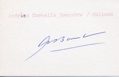 1948 London & 1952 Helsinki Field Hockey Medalist  ANDRIES BOERSTRA Autograph